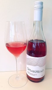 SpearHead Winery Pinot Noir Rosé 2019 with wine in glass