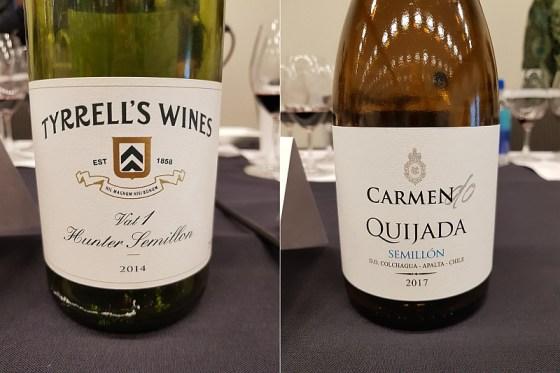Tyrrell's Wines Winemakers Selection Vat 1 Hunter Semillon 2014 and Viña Carmen DO Quijada Semillon 2017 at The Global Cru seminar