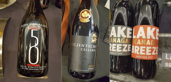 50thParallel Estate Pinot Noir 2016, Lake Breeze Vineyards Meritage 2017, and C.C. Jentsch Cellars Syrah 2016 wines