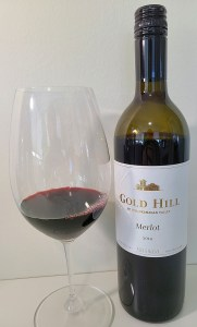 Gold Hill Merlot 2014 with wine in glass