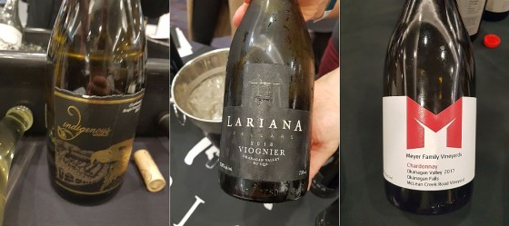 Indigenous World Winery Chardonnay 2017, Lariana Cellars Viognier 2018, and Meyer Family Vineyards McLean Creek Road Chardonnay 2017 wines