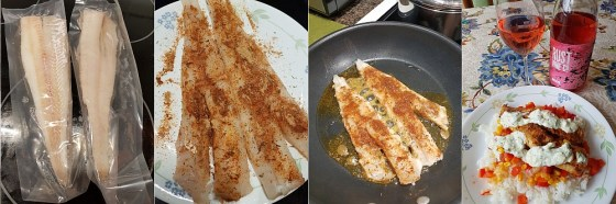 Cooking the Blackened Fish: the pollock fish, seasoning the fish, pan frying the fish, plating the blackened fish and enjoying with a glass of rose wine