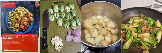 Cooking the Steak and Shrimps with Garlic butter: prepping the vegetables, potatoes cooked ready for mashing, and brussel sprouts pan fried and seasoned