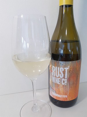 Rust Wine Co Chardonnay 2019 with wine in glass