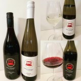 Dirty LaundryRiesling 2019 and Pinot Noir 2018 with wine in glass sm