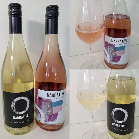 Narrative Pinot Blanc 2018 and Rose 2018 with wine in glass