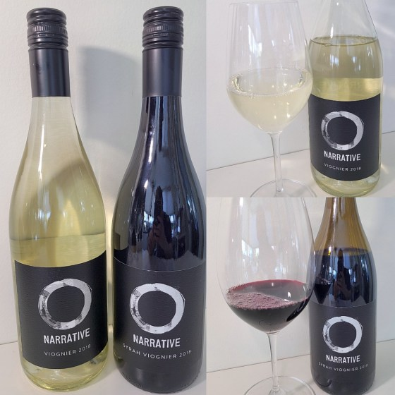 Narrative Viognier 2018 and Syrah Viognier 2018 with wines in glass