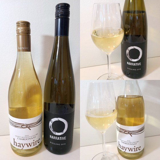 Okanagan Crush Pad's Narrative Riesling 2018 and Haywire Secrest Mountain Vineyard Chardonnay 2018 with wine in glass