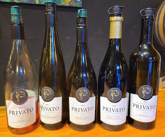 Privato Rose, Gewurztraminer, Pinot Gris, Grande Reserve Pinot Noir and Merlot wines