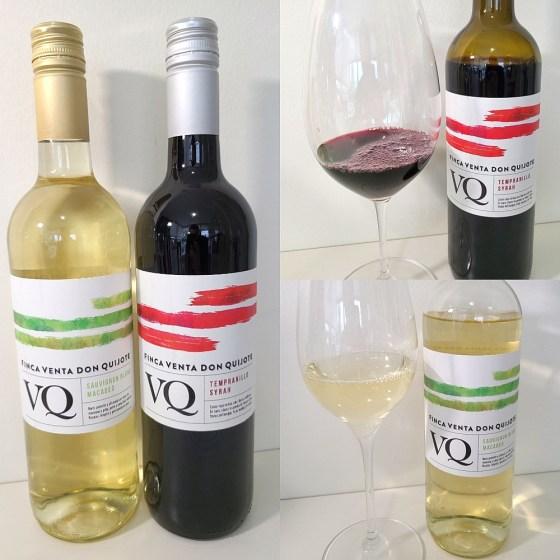 Finca Venta de Don Quijote Sauvignon Blanc Macabeo 2019 and Tempranillo Syrah 2018 with wines in glasses