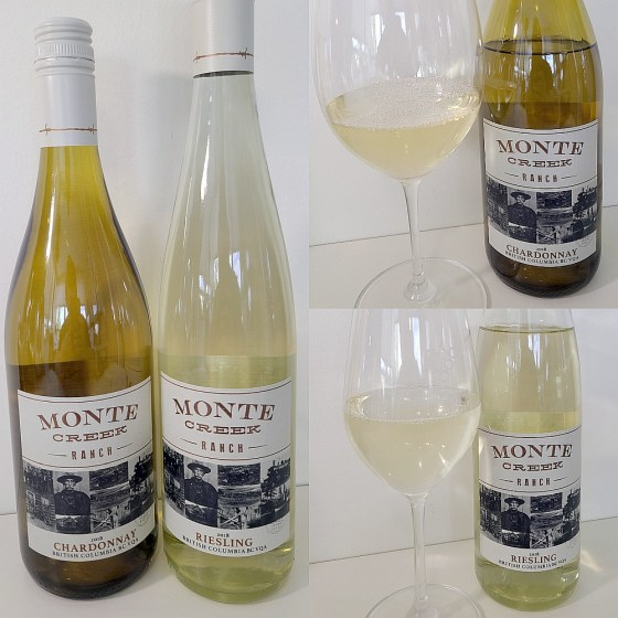 Monte Creek Ranch Chardonnay and Riesling 2018 with wines in glasses