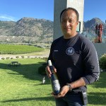 Monte Creek Ranch vineyard manager Miguel with Best White Wine of The Year - Riesling Reserve