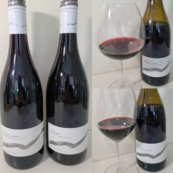 Mt. Boucherie Pinot Noir and Syrah 2018 with wines in glass