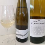 Mt. Boucherie Riesling 2019 with wine in glass