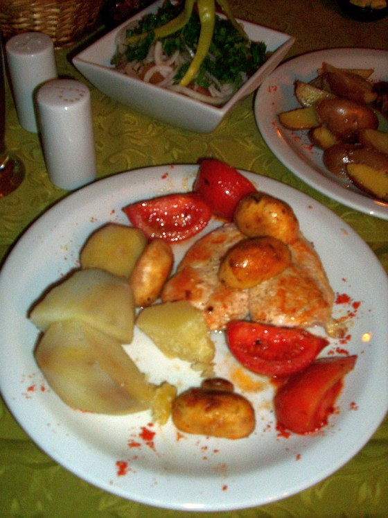 Chicken with potatoes tomatoes and mushrooms
