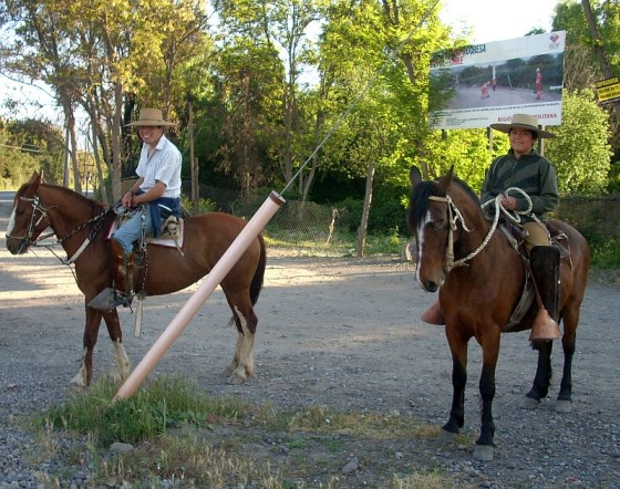 Chilean gauchos by the roadside