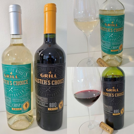 Grill Master's Choice White and Red Blends from Chile with wines in glasses