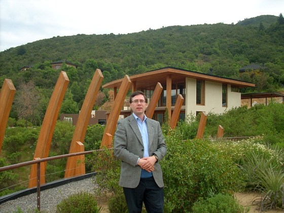 Karl MyWinePal at the Lapostolle Wines winery in Apalta region of Chile