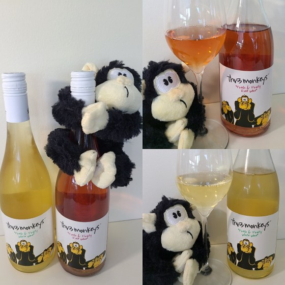 Thr3 Monkeys Fresh & Fruity White Wine and RoséWine, NV with wines and glasses