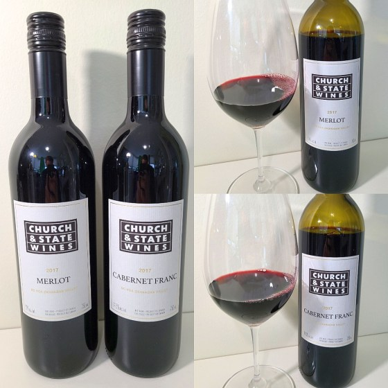 Church & State Wines Cabernet Franc and Merlot 2017 with wines in glasses