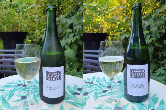 Church & State Wines Frizzante Muscat and Sparkling Pinot Gris 2017 with wines in glasses on the patio