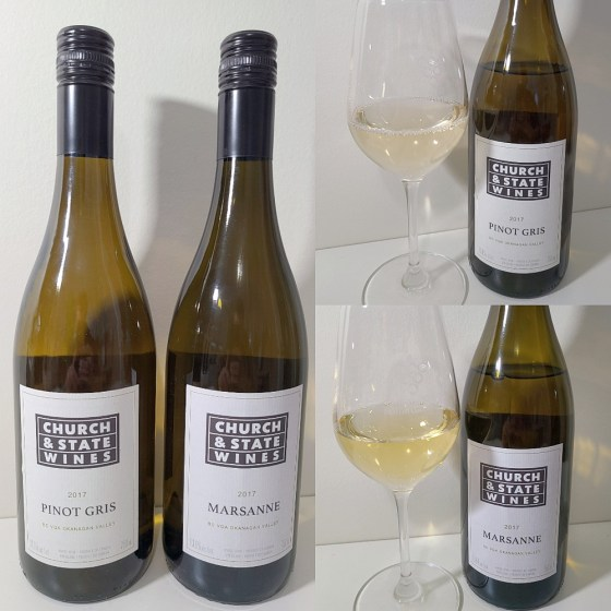 Church & State Wines Pinot Gris and Marsanne 2017 with wines in glasses