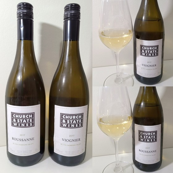 Church & State Wines Roussanne and Viognier 2017 with wines in glasses