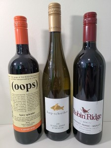 Oops Carmenere 2018, My Karp Off Dry Riesling 2018, and Robin Ridge Cabernet Franc - Merlot 2016 wines