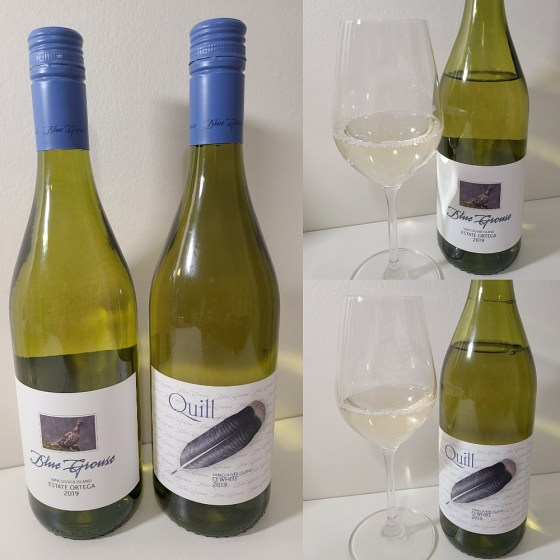 Blue Grouse Estate Winery Estate Ortega and Q White 2019 with wines in glasses