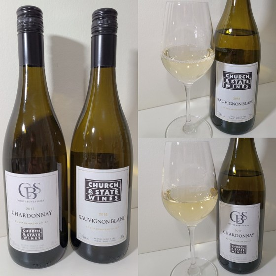 Church & State Wines Coyote Bowl Series Chardonnay 2017 and Sauvignon Blanc 2018 with wines in glasses