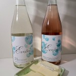Evolve Cellars Elan Effervescence, NV and Pink Effervescence, NV with a selection of cheeses