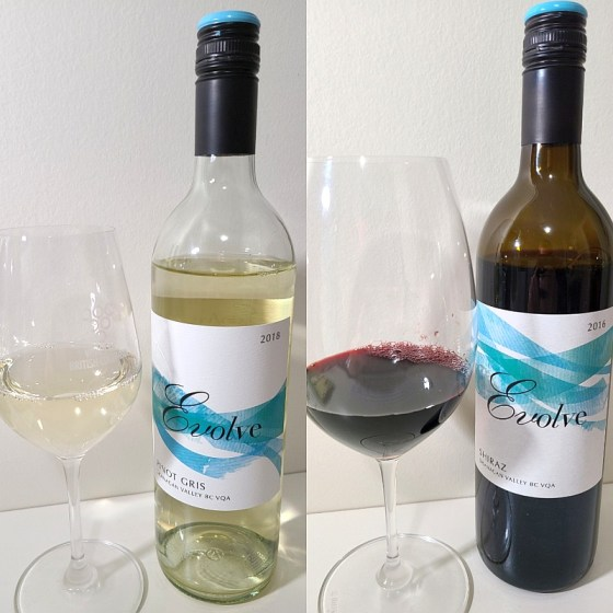Evolve Cellars Pinot Gris 2018 and Shiraz 2016 with wines in glasses