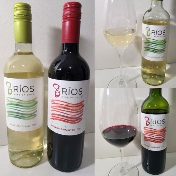 Vina Undurraga 8 Rios Sauvignon Blanc 2019 and Cabernet Sauvignon 2019 with wines in glasses