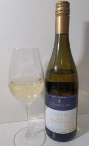 CedarCreek Chardonnay 2017 with wine in glass