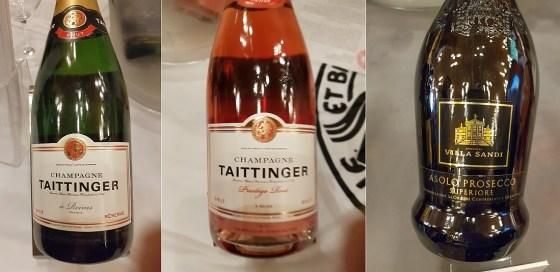 Champagne Taittinger Brut Reserve NV and Prestige Rosé NV, and Villa Sandi Asolo Prosecco Superiore DOCG Brut NV wines