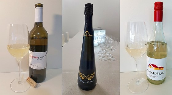 Crowsnest Vineyards Riesling 2018, Summerhill's Cipes Ariel 2000, and SpearHead Winery White Pinot Noir 2019 wines