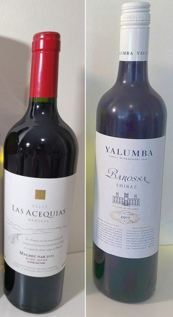 Luis Segundo Correas Valle Las Acequias Malbec Oak 2015 and Yalumba Samuel's Collection Barossa Shiraz 2017 wines