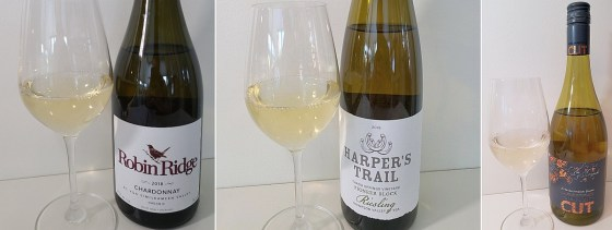 Robin Ridge Chardonnay 2018, Harper's Trail Thadd Springs Vineyard Pioneer Block Riesling 2019, and Winemaker's CUT Estate Sauvignon Blanc 2019 wines