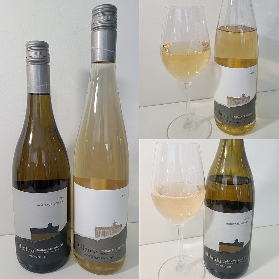 Hillside Winery Heritage Series Gewurztraminer and Viognier 2019 with wines in glasses