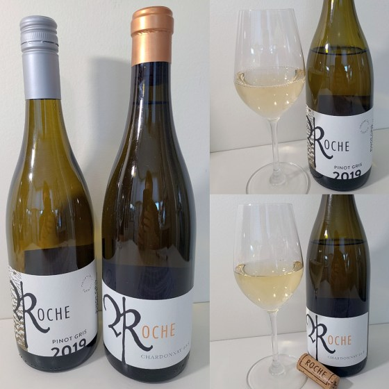 Roche Wines Texture Pinot Gris 2019 and Tradition Chardonnay 2018 with wines in glasses