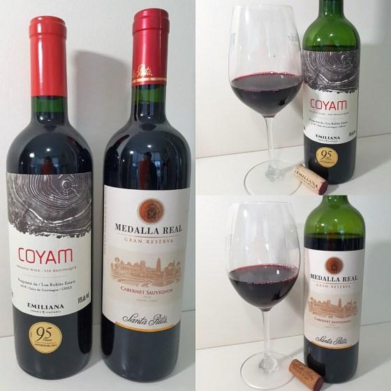 Vina Santa Rita Medalla Real Gran Reserva Cabernet Sauvignon 2016 and Vinedos Emiliana Organic Vineyards COYAM 2018 with wines in glasses