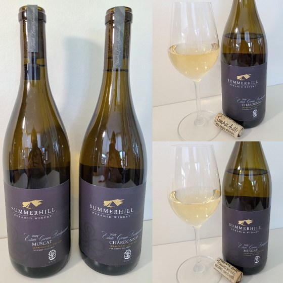 Summerhill Pyramid Winery Estate Grown Biodynamic Muscat and Chardonnay 2020 with wines in glasses