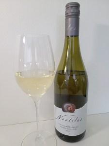 Nautilus Estate Wines Sauvignon Blanc 2019 with wine in a glass