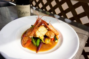 Seared Halibut and Spot Prawns with Kutatas Wines Patricia Bay Pinot Noir 2019 (Photo credits to Emrys  Horton and Aoife Rafferty)