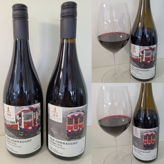 Seaside Pearl Farmgate Winery The Connaught 2018 from the Okanagan and Similkameen Valleys with wines in glasses