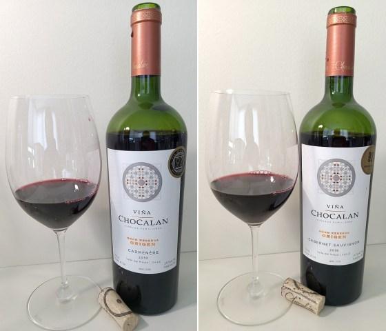 Viña Chocalán Gran Reserva Origen Carmenere and Cabernet Sauvignon 2018 with wines in glasses