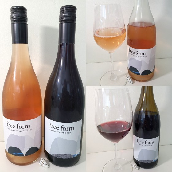 Okanagan Crush Pad free form Cabernet Franc Rosé and Cabernet Franc 2019 with wines in glasses