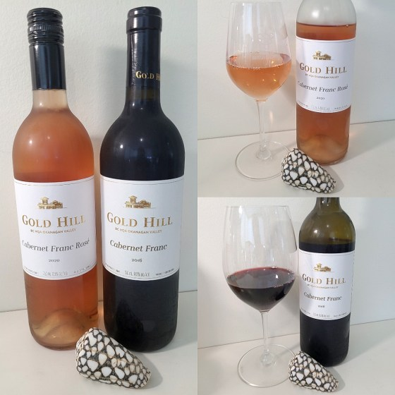Gold Hill Cabernet Franc Rosé 2020 and Cabernet Franc 2016 with wines in glasses