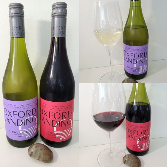 Oxford Landing Pinot Grigio 2020 and Syrah 2018 with wines in glasses