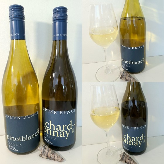 Upper Bench Winery & Creamery Pinot Blanc 2020 and Estate Chardonnay 2018 with wines in glasses